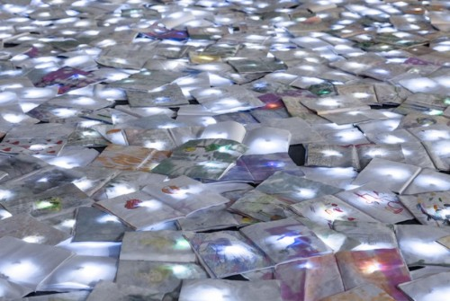 Glowing circle made from thousands of recycled notebooks celebrate Bilbao's book festival