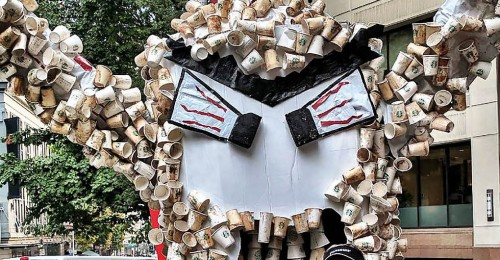 This giant Cup Monster wants Starbucks to use recyclable cups