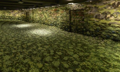 """Incredible """"green dreamscape"""" made of recycled threads takes over a Taipei lecture hall"""