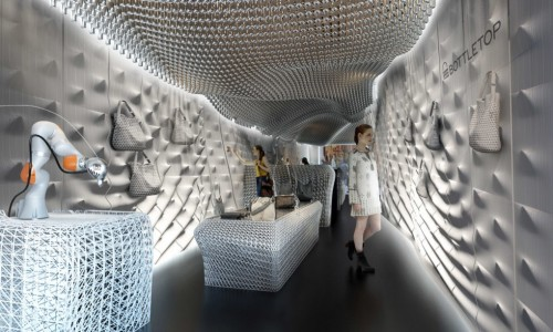 London store recycles 60,000 plastic bottles for 3D-printed interior