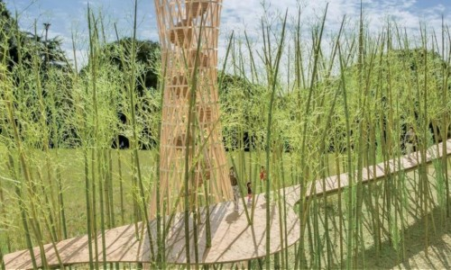 Elevated bamboo peace bridge for the Korean Demilitarized Zone unveiled by Shigeru Ban and Jae-Eun Choi